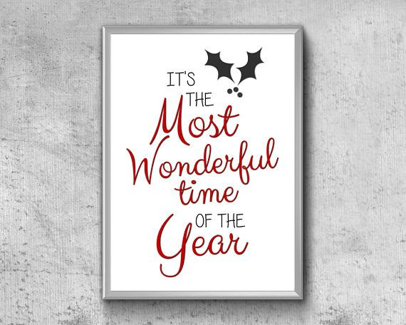 Christmas Printable Quote  It's The Most Wonderful Time