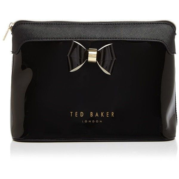 Ted Baker Extra Large Layered Bow Cosmetic Case (5525 RSD) ❤ liked on Polyvore featuring beauty products, beauty accessories, bags & cases, black, wash bag, cosmetic bag, makeup purse, cosmetic purse and purse makeup bag