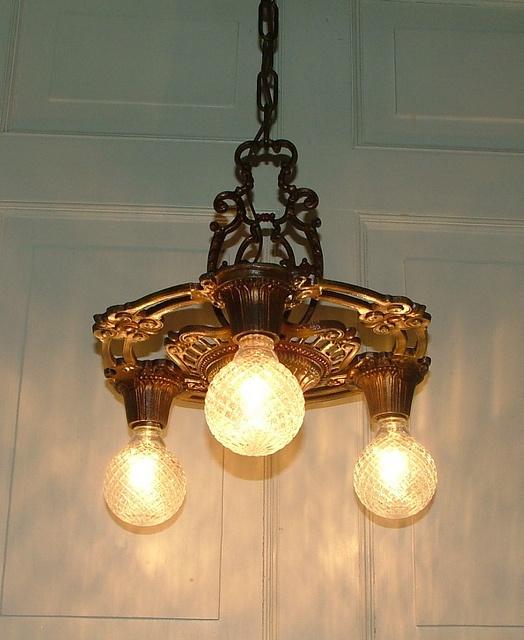 Vintage Antique Lighting, Art Deco Nouveau Design Influence, Antique Cast  Iron Hanging Ceiling Lamp