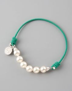 Elastic Pearl Bracelet, Green by Majorica at Neiman Marcus.
