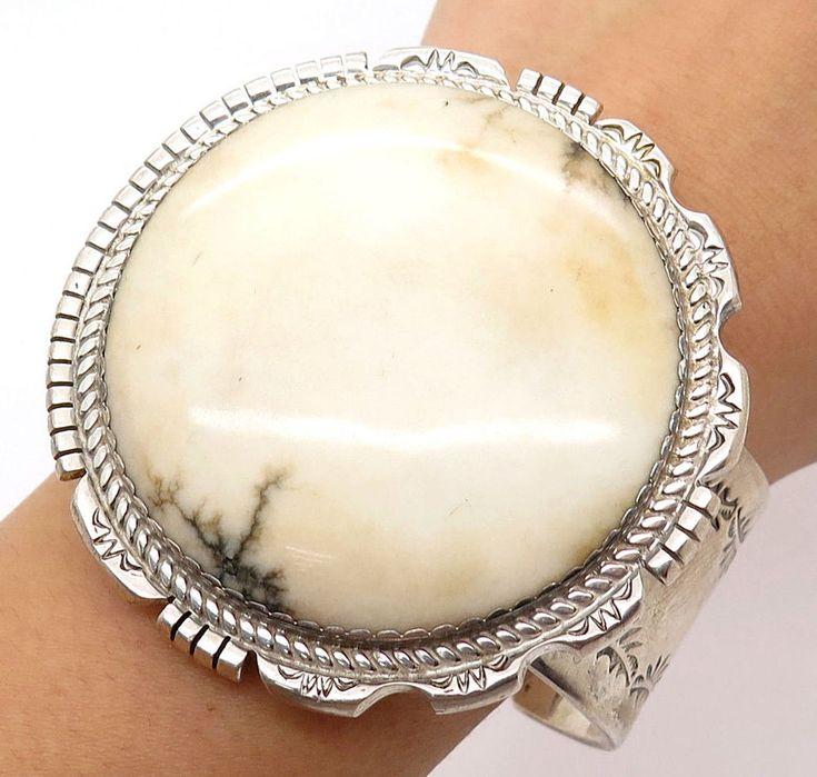 Jimmy Calabaza Kewa Old Pawn Sterling Silver Large White Agate Gemstone Bracelet #Cuff