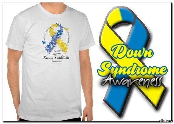 Желто-синяя лента -официальный символ синдрома даунов : symbol down syndrome