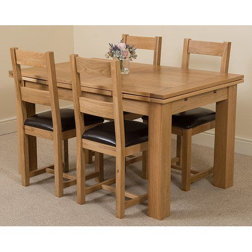 Rosalind Wheeler Kenia Dining Set With 4 Chairs Oak Dining Sets