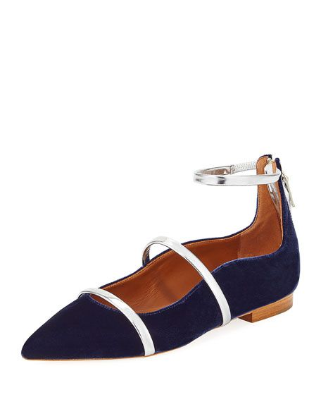 MALONE SOULIERS Robyn Velvet Ankle-Strap Flat, Navy. #malonesouliers #shoes #