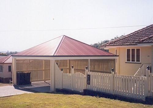 Pyramid hip roof freestanding carport.