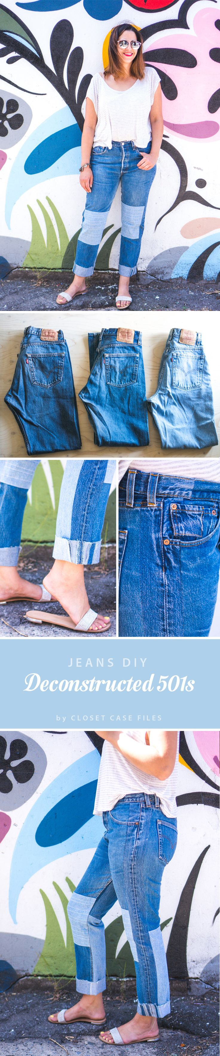 Deconstructed Levi 501s // Jeans refashion http://closetcasefiles.com/refashioners-deconstructedreconstructed-levi-501s/