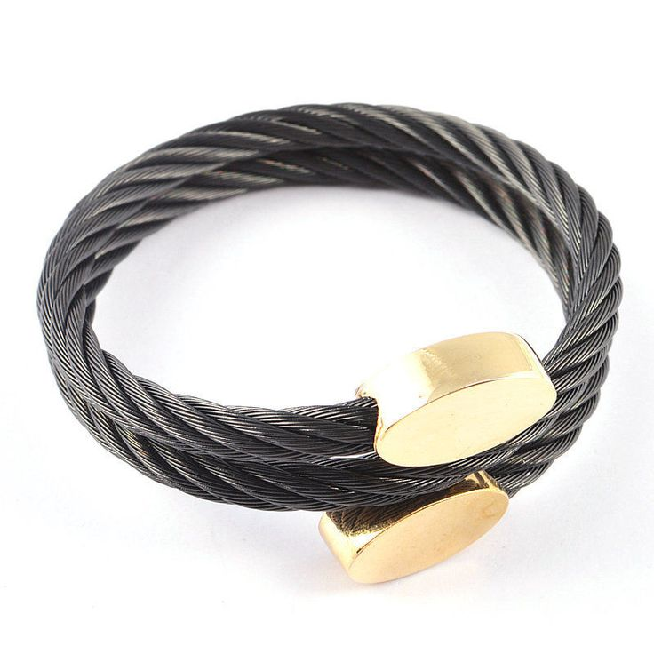 Women 18K Rose/Gold Clasp Twisted Black Stainless Steel Cable Wire Cuff Bracelet