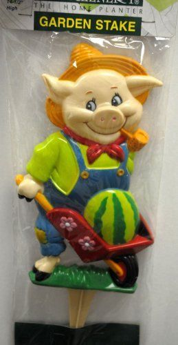 "Wheelbarrow Pig Garden Stake by Regal. $6.49. 14.5"" inches high. Weather resistant. Made from sturdy polypropylene. This unique pig garden accent will bring plenty of joy and oink into your life! A unique garden gift for pig lovers and collectors, this garden stake will bring whimsy and fun to any garden.  Our pig garden stake is a whimsical creature hard at work complete with wheelbarrow and watermelon inside! At 14 "" high, each garden stake is a work of garden art, beautifully..."