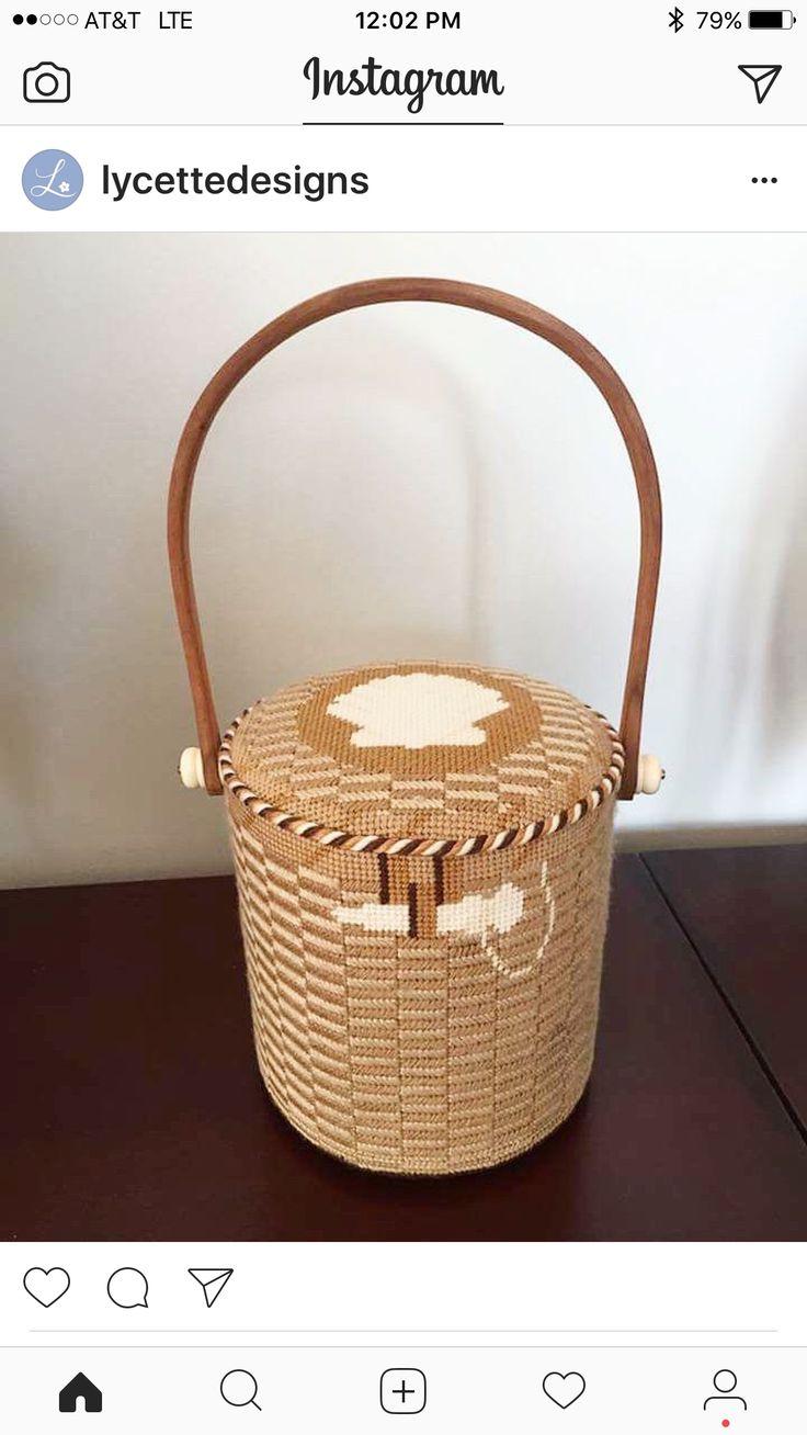 Nantucket basket purse with needlepoint shell insert