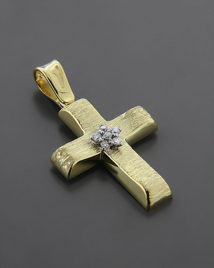 Σταυρός βαπτιστικός χρυσός K14 με Ζιργκόν | eleftheriouonline.gr