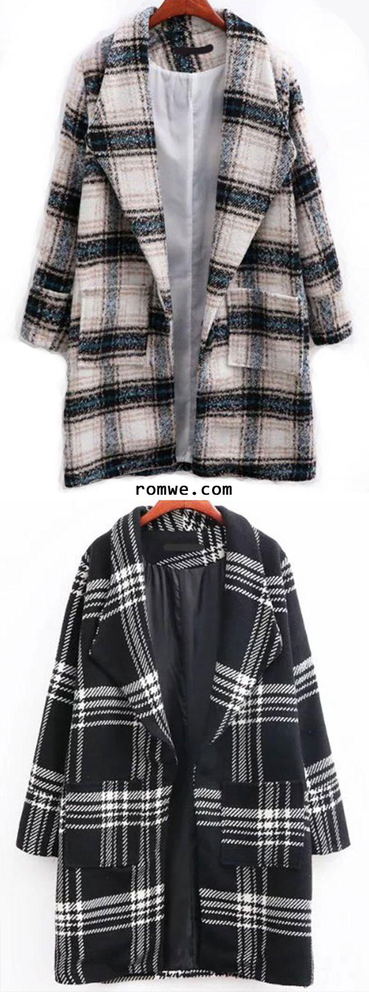 Plaid Shawl Collar Coat