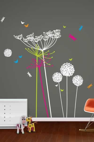 Dandelion wall sticker. Loving the grey, my goodness this will make the 3rd time to paint nursery.  Grey is the new brown
