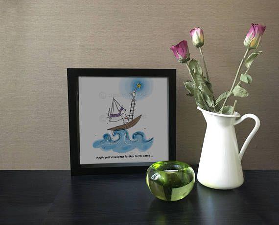 Sea Artwork, Sea Printed Art, Funny Illustration, Hand Drawn, Funny Quotes, Comic Poster, Humorous Quote, Digital Print, Original Drawing