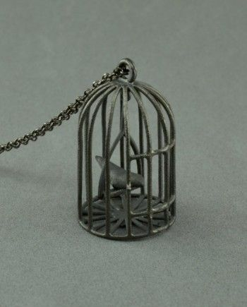 Swinging birdcage necklace made of oxidized silver