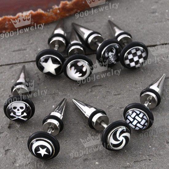 8x Mixed Style Plastic Face Stainless Steel Spike Ear Stud Men's Earring Jewelry