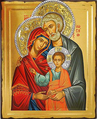 WOW Byzantine Holy Family Religious Greek Icon Wood Serigraph Gold Silver 14""