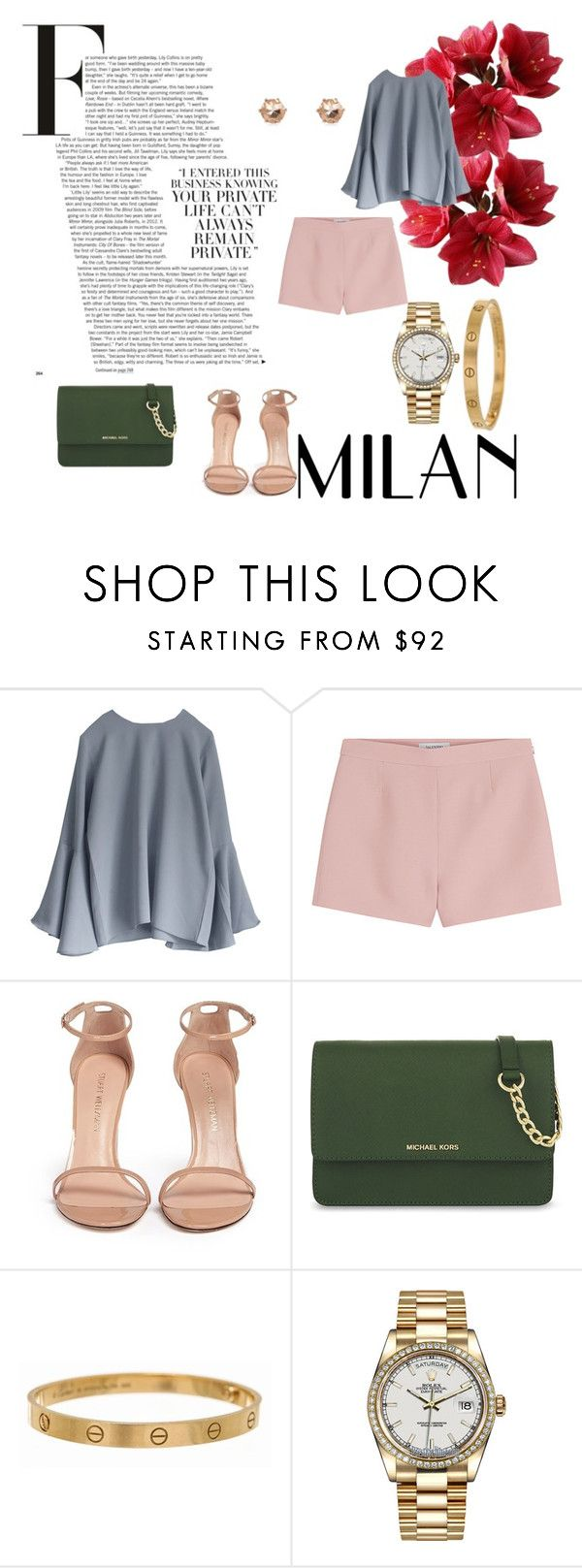 """simple look"" by valentinacabarcasgs-1 on Polyvore featuring moda, Valentino, Stuart Weitzman, MICHAEL Michael Kors, Cartier y Rolex"
