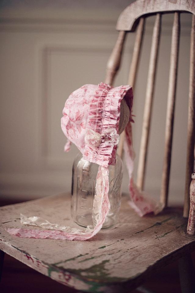 Pink Ruffle Newborn bonnet. $30.00, via Etsy.