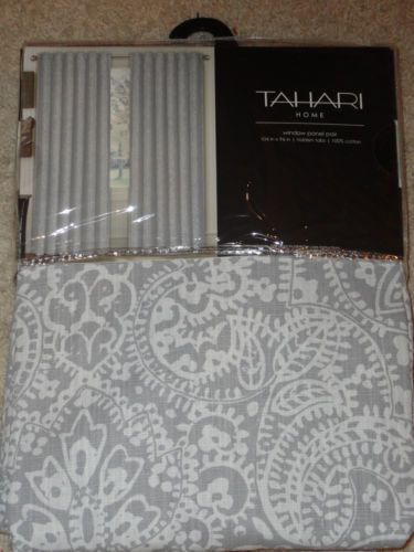 Tahari Gray White Damask Window Panels Drapes Set 2 New