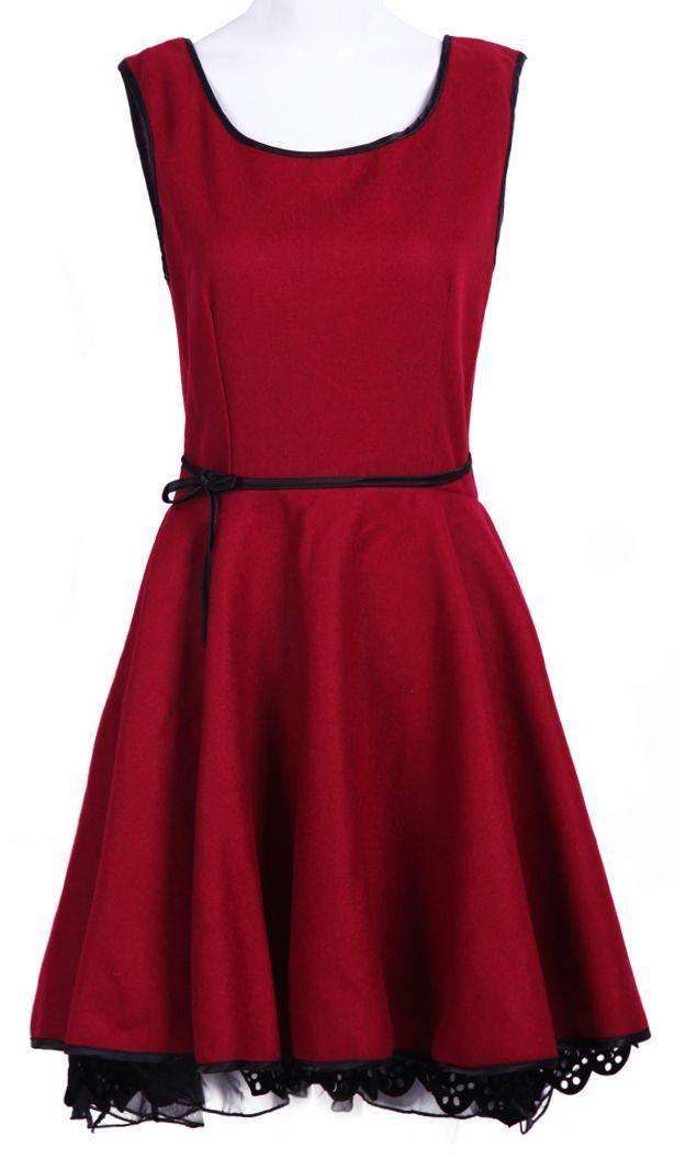 Red Sleeveless Backless Bow Belt Dress - romantic...