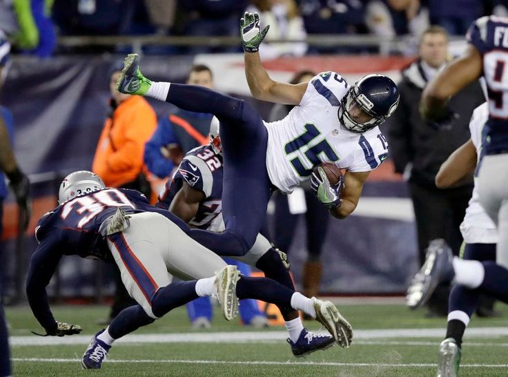 Seahawks vs. Patriots:  31-24, Seahawks  -  November 10, 2016  -    New England Patriots defensive backs Duron Harmon and Devin McCourty tackle Seattle Seahawks wide receiver Jermaine Kearse during the first half of an NFL football game, Sunday, Nov. 13, 2016, in Foxborough, Mass.