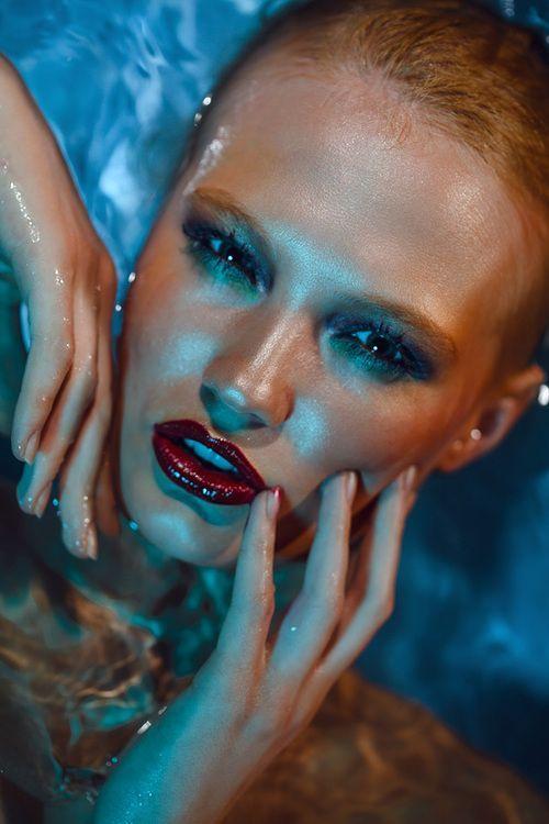 Beautiful deep burgundy wet lips.