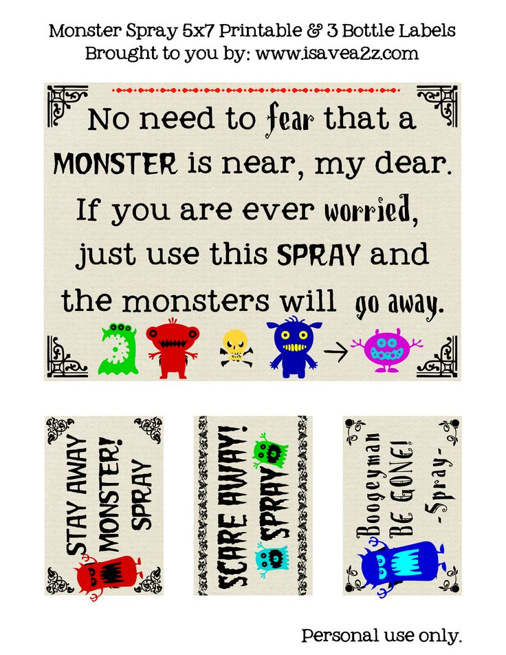 Monster Go Away Spray FREE PRINTABLE!