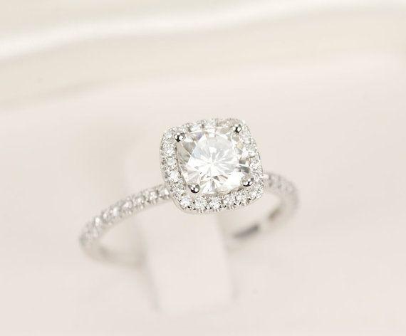 The one I actually want // Cushion Moissanite & Diamonds Ring 14K White Gold by SundariGems