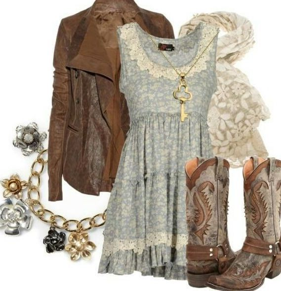 Not crazy about the jewelry or the scarf. Really like the dress, jacket, & loooove the boots!!