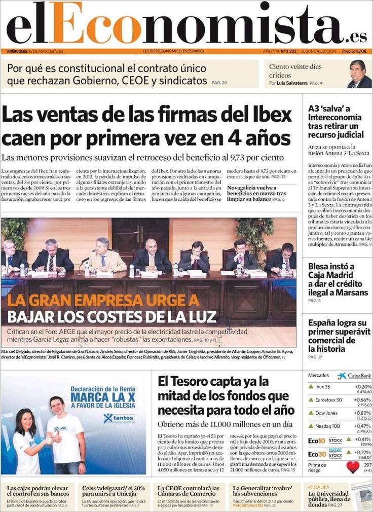 Los Titulares y Portadas de Noticias Destacadas Españolas del 15 de Mayo de 2013 del Diario El Economista ¿Que le parecio esta Portada de este Diario Español?