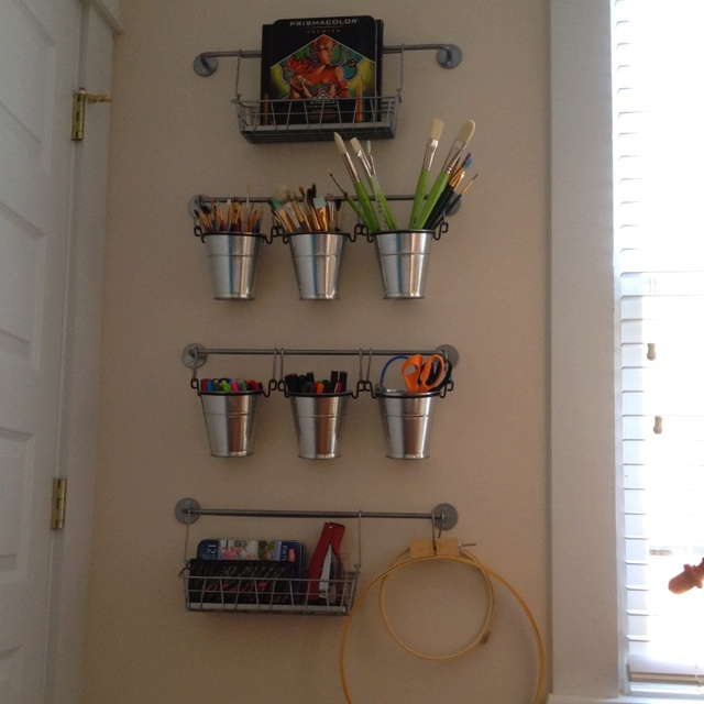 Great Ikea Organization (office Supplies On Wall By Printer)
