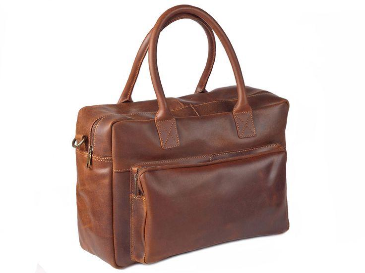 Ruime leren laptop tas, geschikt voor een laptop van 13 inch
