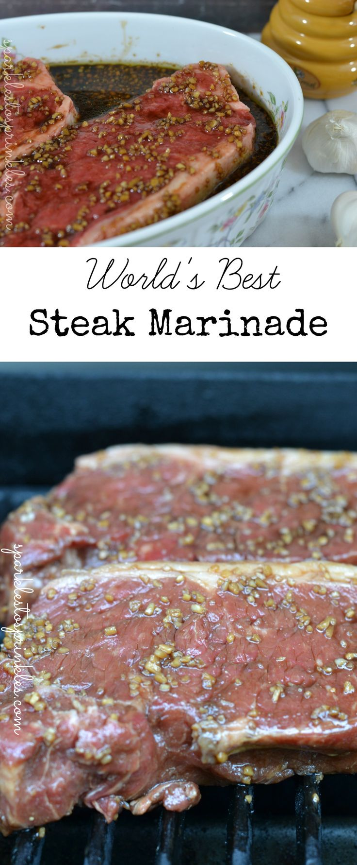 "When I say world's best….. I really mean WORLD""S BEST!!!  This marinade is so delicious that you will make it for years and years to come.   I use this on any red meat. Pin for Later!"