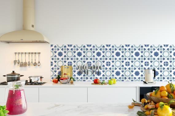 Koristella Keittiota Tarroilla Chefchaouen Sku Rt23 Etsy Kitchen Backsplash Furniture Overlays Kitchen Backsplash Peel And Stick