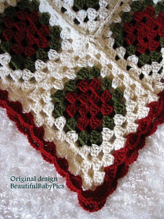 Vintage Throw Granny Afghan Blanket Throw Blanket Hat by MaryYarns