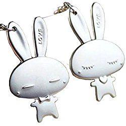 1 Pair Cute Couple Keychain Silver Metal Rabbit Keyring Keychain Key Holder Valentine's Day Lover Gift