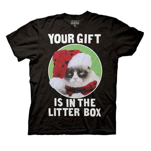 Grumpy Cat Your Gift Is In The Litter Box Black T-Shirt