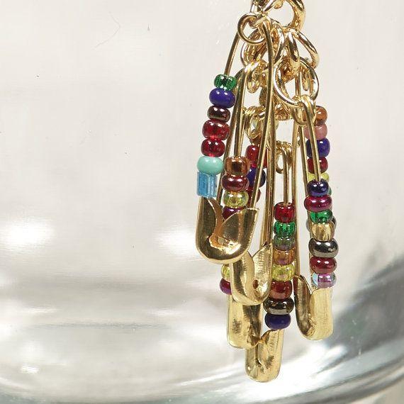 Spilla di sicurezza multicolori orecchini - orecchini perline oro - Boho Upcycled gioielli