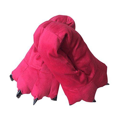 pantoffeln herren winter Hausschuhe Phantasie rot Tier Pfote Schlafanzug - http://on-line-kaufen.de/ilovesia/hausschuhe-herren-39-43-ilovesia-unisex-jumpsuit-7