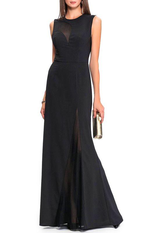 Черное вечернее платье длины макси с прозрачным верхом