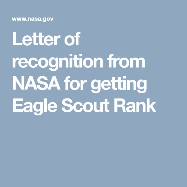 Letter of recognition from NASA for getting Eagle Scout Rank