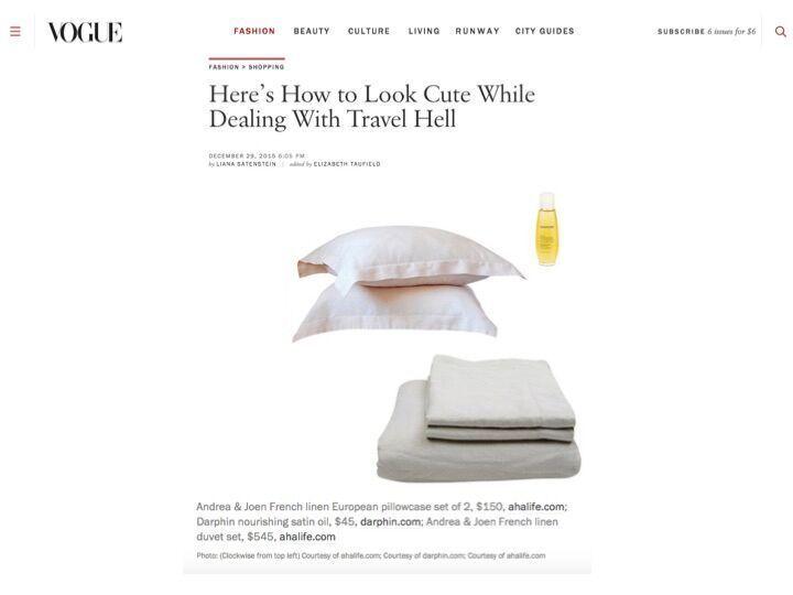 Andrea & Joen French Bed Linen in Vogue Australia