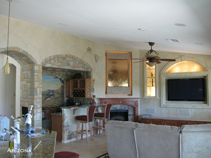Tuscan Themed Living Room Painted Vineyard Mural Custom Wall Mounted Water Feature