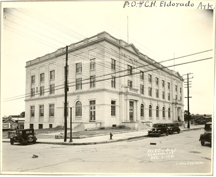 A Drawing Of The Federal Building Just Off Square In El Dorado Ar This