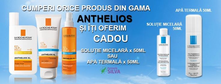 Cumpara orice produs din gama La Roche Posay Anthelios si primesti cadou Solutie Micelara x 50mlSAU Apa termala x 50ml  http://goo.gl/WDG14L