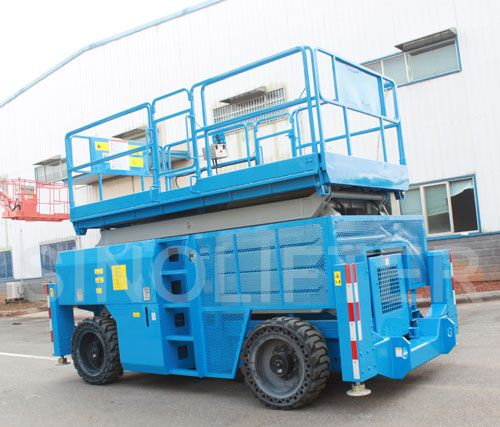 Diesel power scissor lift is with powerful grade ability. 13m lifting height, 4-wheel driven, can be used in uneven ground easily. Mostly used for maintain, installation and clean. (http://sinolifter.com/self-propelled-scissor-lift/rough-terrain-scissor-lift-13m.html)
