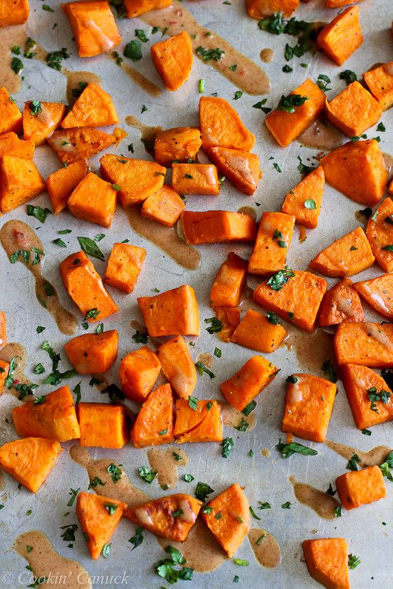 Roasted Sweet Potatoes and Almond Butter Sauce