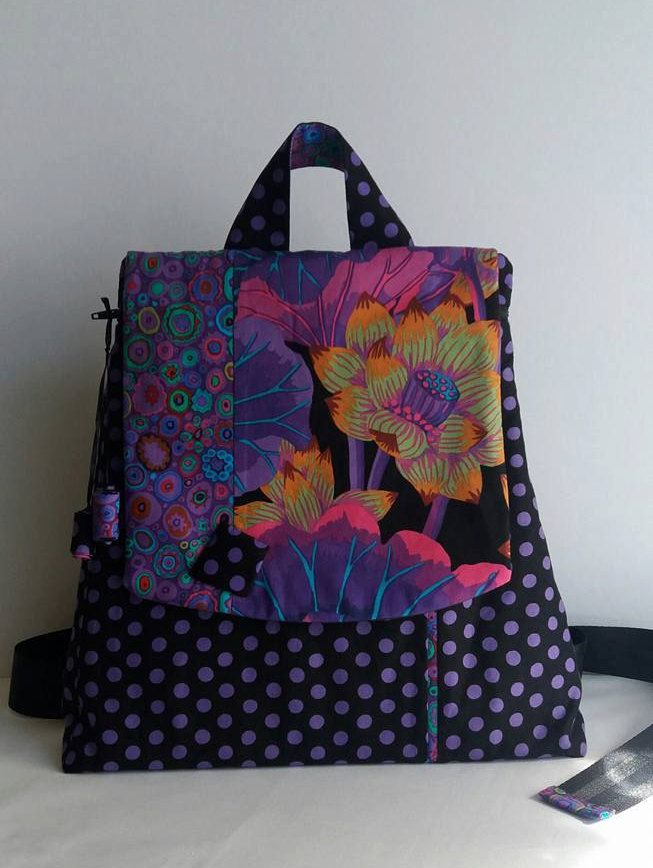 Backpack Colors of juzz - Black, Backpack Kaffe Fassett, Woman's backpack, Modern backpack by MagicThreadByNatalia on Etsy