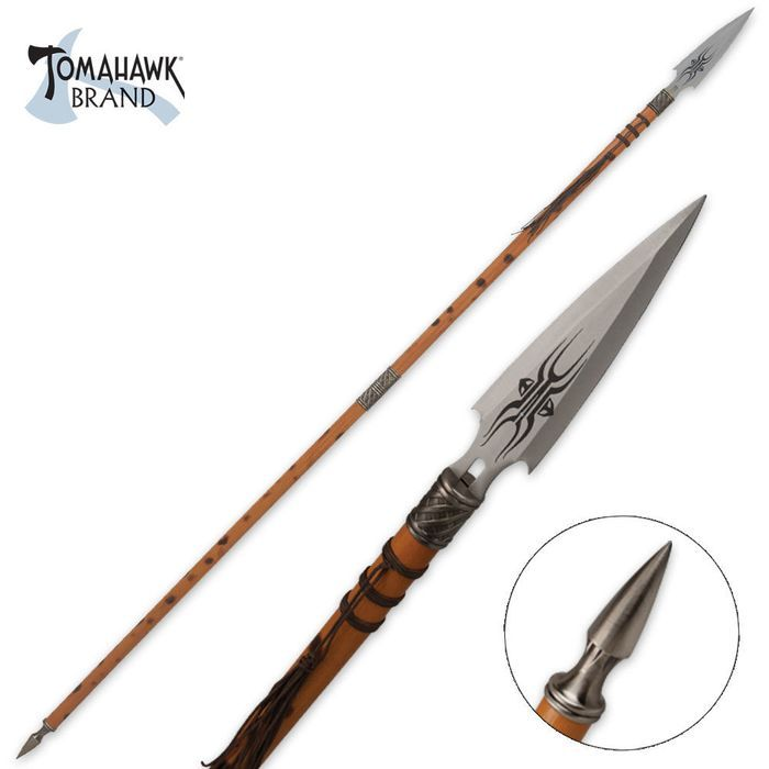 African Wooden Warrior Spear | BUDK.com - Knives & Swords At The Lowest Prices!