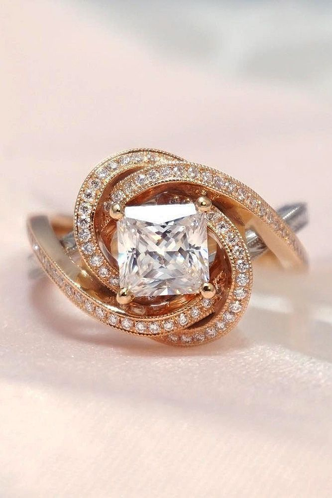 18 Modern Engagement Rings For Your Creative Girl ❤ modern engagement rings princess cut diamond rose gold ❤ More on the blog: ohsoperfectpropos... #wedding #proposal #uniqueengagementrings #modernengagementrings #princesscutring